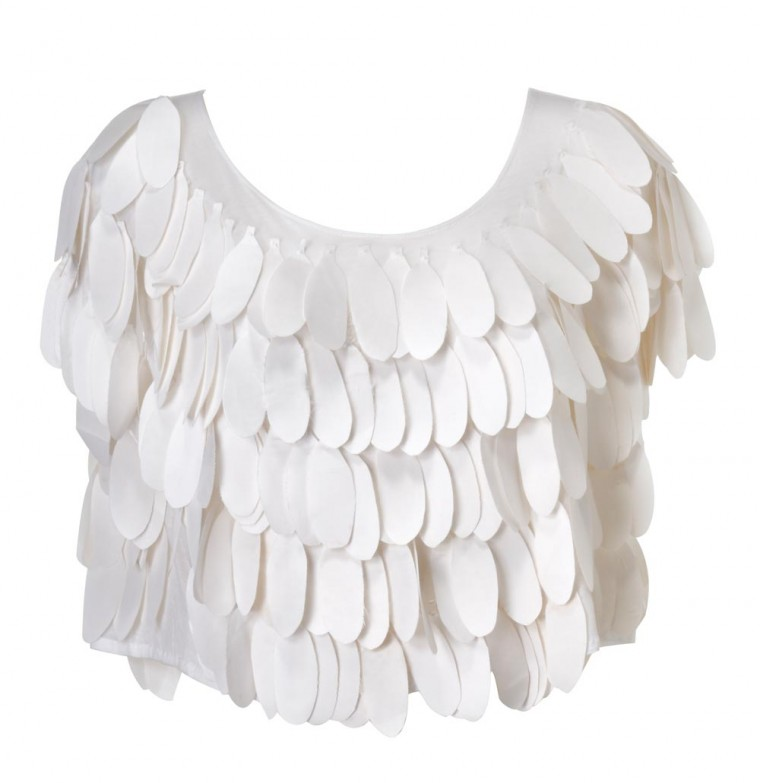 Silk Feathers White Top