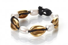 Pearls and Gold Seashells bracelet - Thin